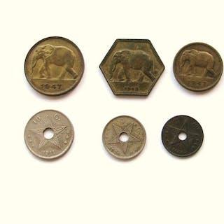 Belgisch-Kongo - 1 Cent/5 Frank 1888/1947 - 11 stuks