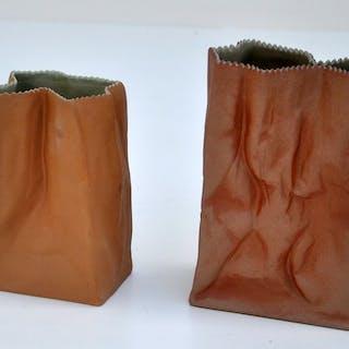 "Tapio Wirkkala - Rosenthal - zwei ""Paper Bag"" -Vasen - Porzellan"