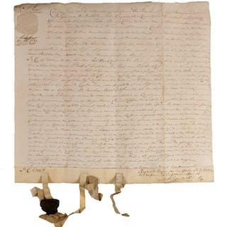 Handgeschreven overeenkomst op perkament over erfpacht...