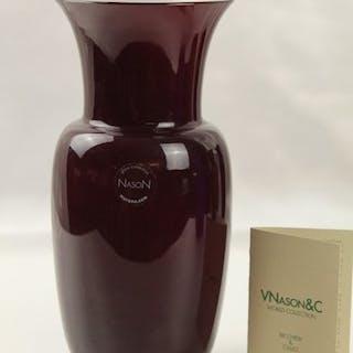 Carlo Nason - vaso opalino - Vetro colorato, colore prugna/bianco