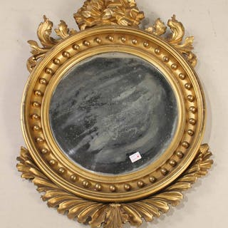 Federal Round Carved Giltwood Mirror