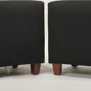 Ballard Designed Black-Upholstered Ottomans