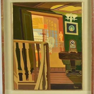 Oil on Board, Modern Interior Scene