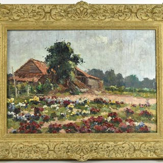 Oil on Board, House with Flowers