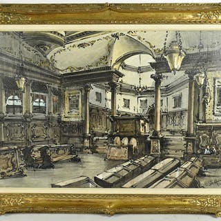 Oil on Canvas, Church Interior, Ferruccio Steffanutti