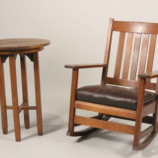 Stickley Oak Rocking Chair and Side Table