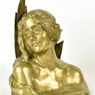 Bronze Bust of Woman, Maurice Bouval