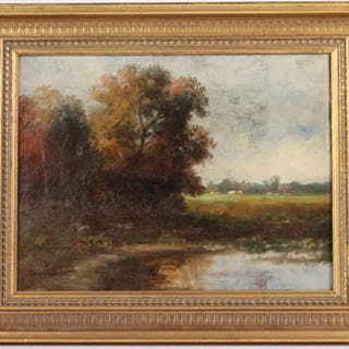 Oil on Canvas Pastoral Landscape George Gifford