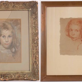 Two Charcoal and Pastel Portraits Antonio Barone
