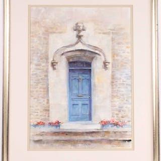 Watercolor Blue Door Tom Heller