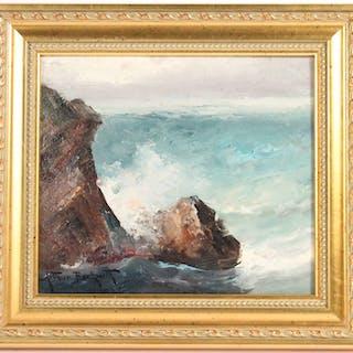 Oil on Board Coastal Seascape Arthur Beckwith