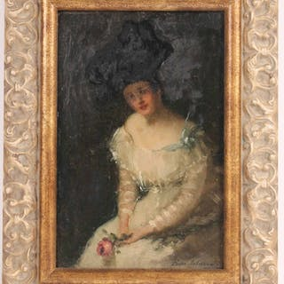 Oil on Canvas Woman with Rose Dixie Selden