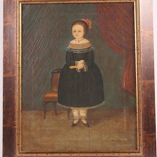 Oil on Canvas Primitive Portrait of a Girl