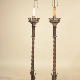 Pair of Iron Torchere Style Floor Lamps