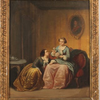 Oil on Canvas Ladies in Parlor