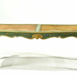 Venetian Style Painted and Caned Window Bench