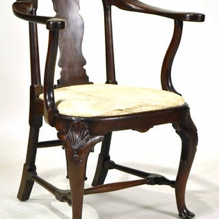 Queen Anne Compass Seat Library Armchair