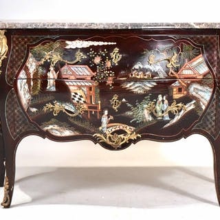 Regency Style Marble Top Painted Bombe Chest
