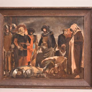 Oil on Canvas, Medieval Battle Scene