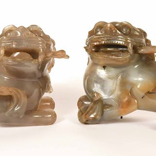 Pair Chinese Carved Agate Foo Dogs