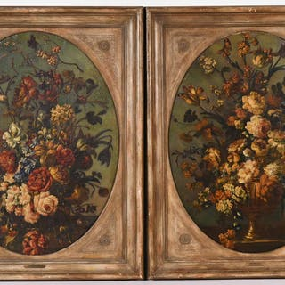 Pair of Oil on Canvas Floral Still Life Painting