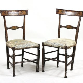 Pair of Italian Empire Painted Side Chairs