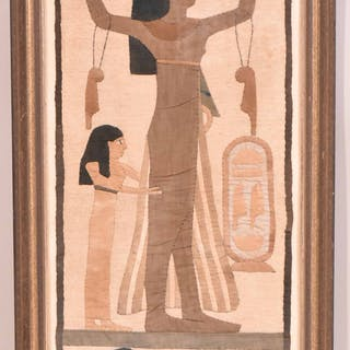 Hand-Pieced Stitched Cotton Egyptian Wall Hanging