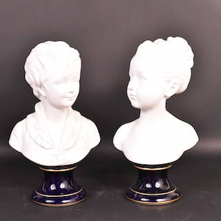 Pair of Limoges Bisque Porcelain Busts