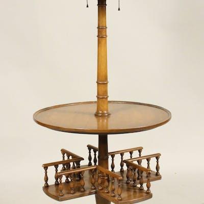 Regency Style Walnut Table Floor Lamp