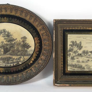Two Black and White Silkworks of Bucolic Scenes