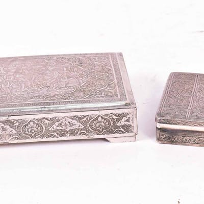 Two Persian Silver Rectangular Boxes