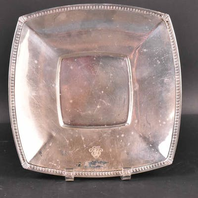 Tiffany Makers Sterling Silver Square Footed Bowl