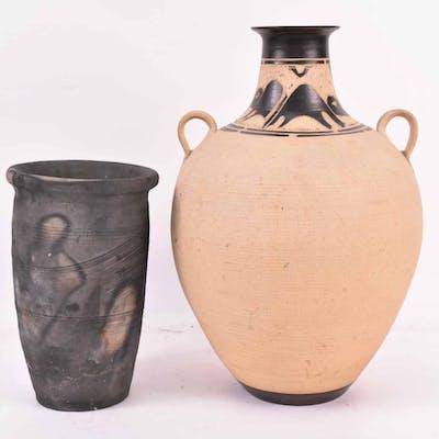 Raku Fired Pottery Black Vase