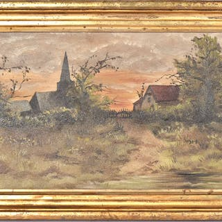Oil on Board Landscape View of a Town
