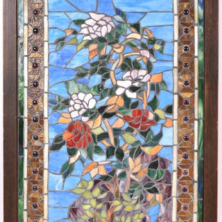 Stained Glass Panel of Flowers