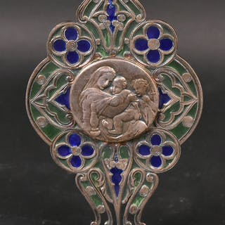 Silver & Stained Glass Standing Reliquary