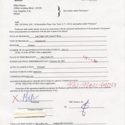 Mike Myers Signed Contract