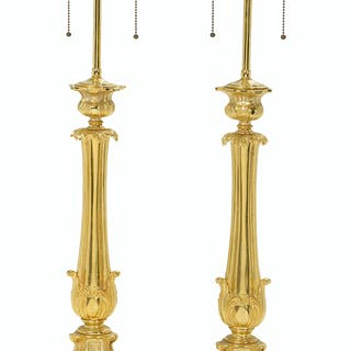 Pair of Signed Rococo Revival Gilt-Bronze Lamp Standards