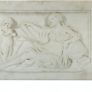Neoclassical Bas-Relief-Carved Marble Plaque