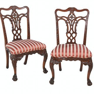 Pair of George II-Style Mahogany Side Chairs