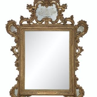 Venetian Giltwood and Engraved Glass Mirror