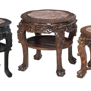 Group of Three Chinese Marble-Top Occasional Tables