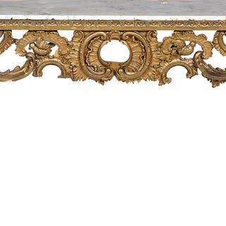 Louis XV-Style Giltwood and Marble-Top Console