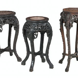 Group of Three Chinese Jardiniere Stands