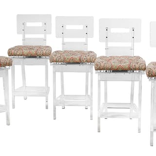 Suite of Five Contemporary Lucite Stools