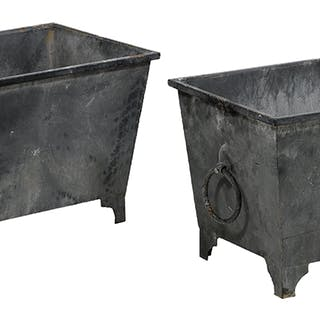 Pair of Metal Oblong Planters of Asian Inspiration