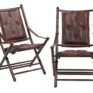 Pair of Campaign-Style Mahogany and Leather Folding Chairs