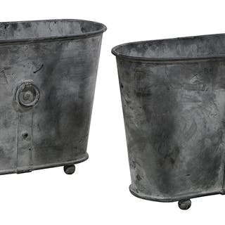 Pair of Metal Oval Planters of Asian Inspiration