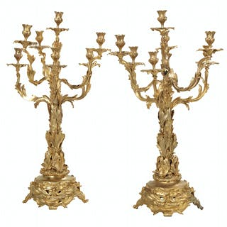 Pair of French Gilt-Bronze Candelabra in the Rococo Revival Taste
