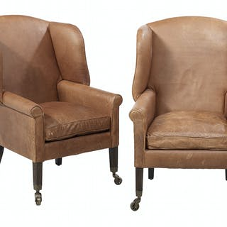 Pair of George III-Style Leather and Oak Wing Chairs